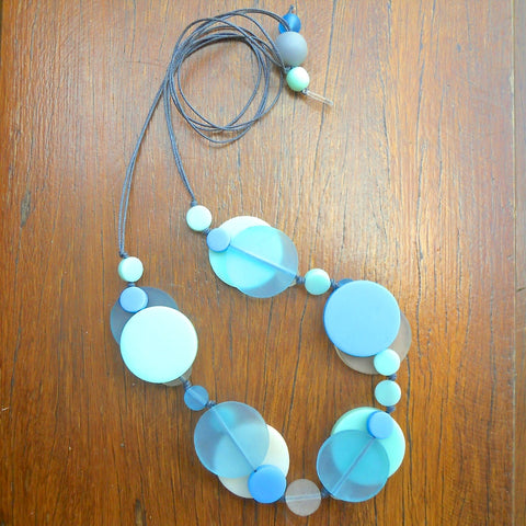 Aqua, Mint & Cream Jelly Coin Resin Necklace