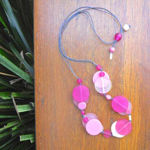 Pink & Cream Jelly Coin Resin Necklace