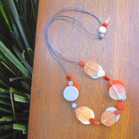 Urban Orange Jelly Coin Resin Necklace