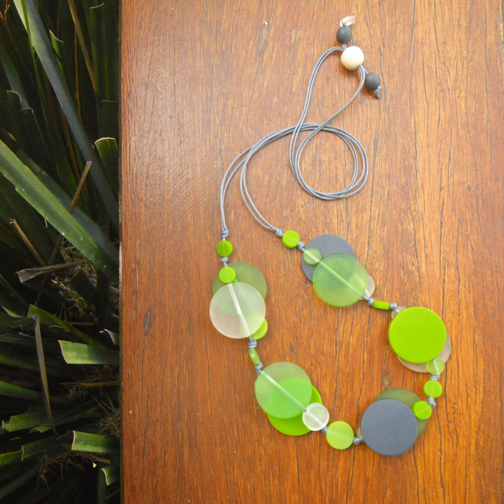 Charcoal, Lime & Clear Jelly Coin Resin Necklace
