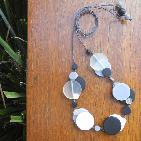 Black, White & Clear Jelly Coin Resin Necklace