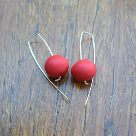 Red Nugget Drop Resin Earrings