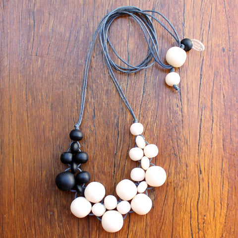Black & Cream Mini Bubble Ball Resin Necklace
