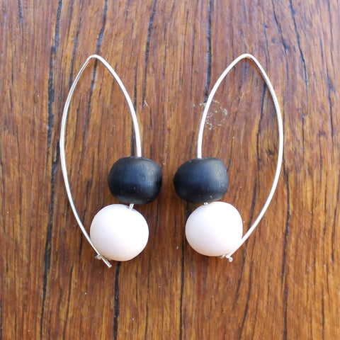 Black & Cream Double Bubble Ball Drop Earrings