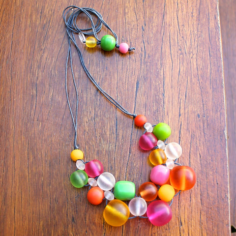 Translucent Multi-Coloured Bubble Ball Resin Necklace