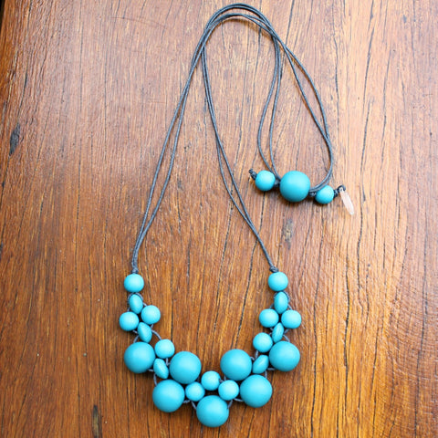 Teal Mini Bubble Ball Resin Necklace