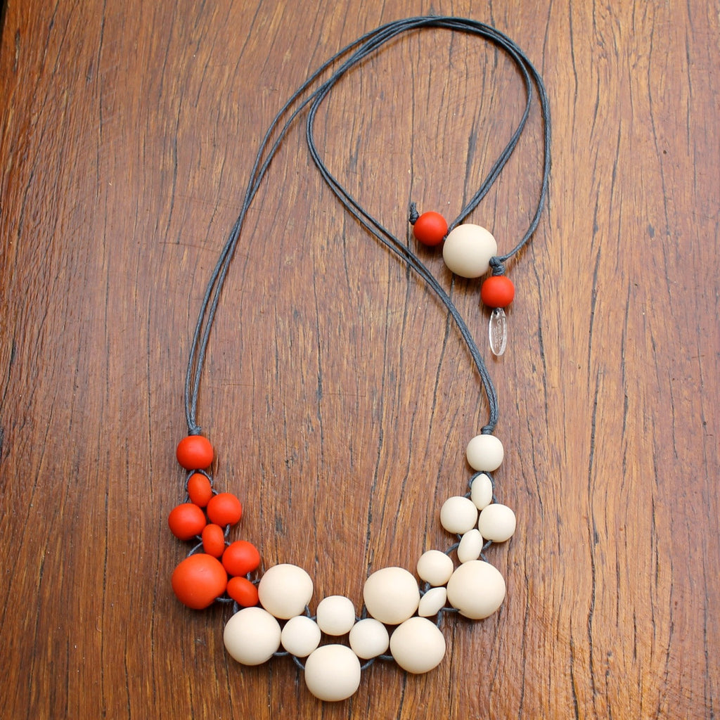 Orange & Cream Mini Bubble Ball Resin Necklace