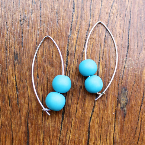 Teal Double Bubble Ball Drop Earrings