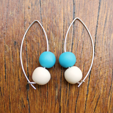 Teal & Cream Double Bubble Ball Drop Earrings