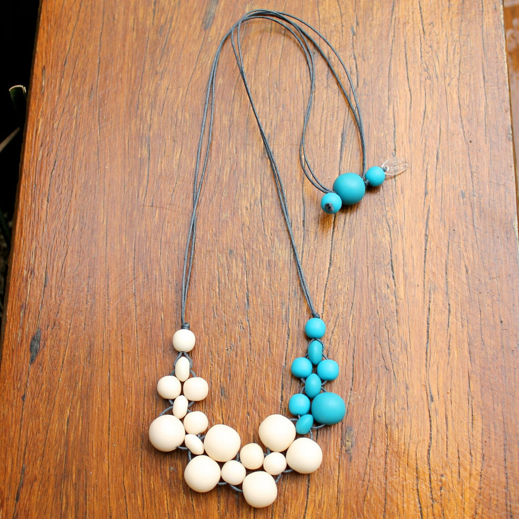 Teal & Cream Mini Bubble Ball Resin Necklace