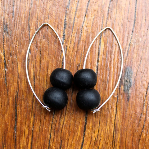Black Double Bubble Ball Drop Earrings