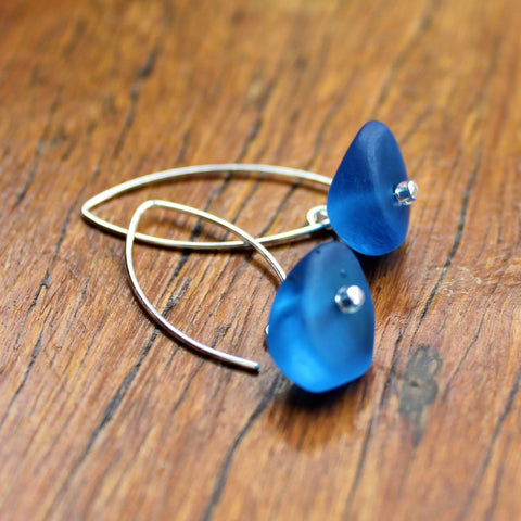 Blue (Dark, Translucent) Ice Chip Resin Earrings