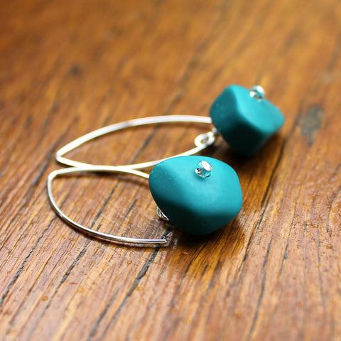 Teal Ice Chip Resin Earrings