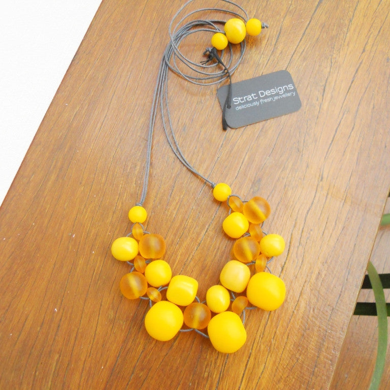 Yellow Bubble Ball Necklace