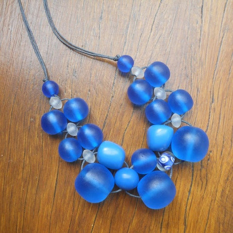 Blue (Dark) Bubble Ball Necklace