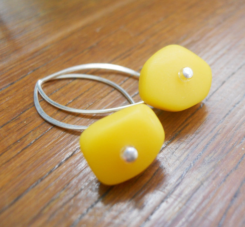 Yellow Ice Chip Resin Earrings