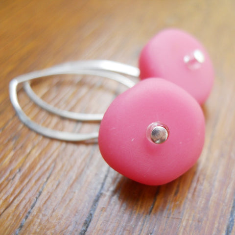Pink Ice Chip Resin Earrings