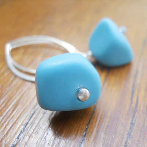 Blue Ice Chip Resin Earrings