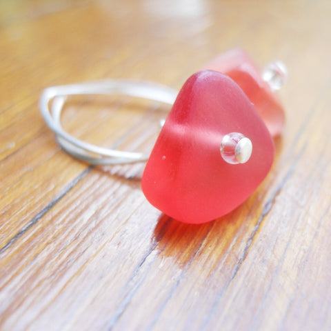 Red (Translucent) Ice Chip Resin Earrings