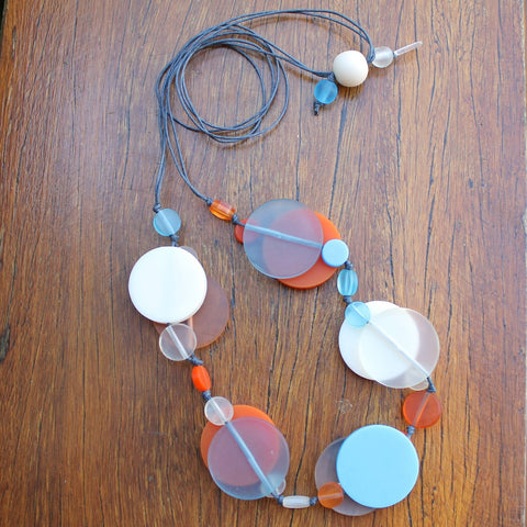 Beach Blue & Orange Jelly Coin Resin Necklace