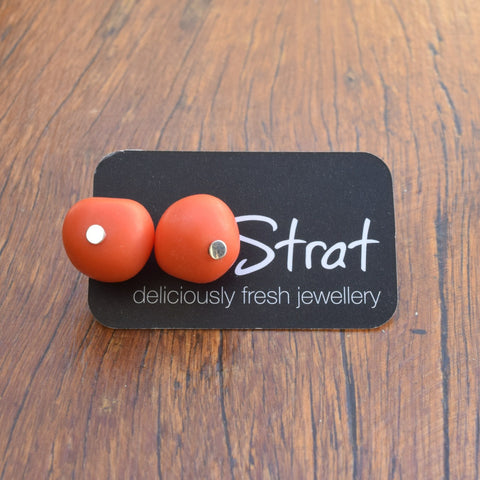 Orange nugget stud earrings