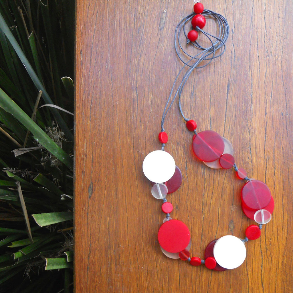 Red, Cream & Clear Jelly Coin Resin Necklace