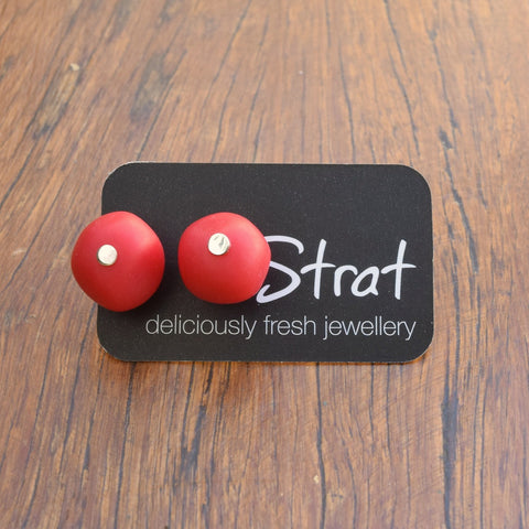 Red nugget stud earrings