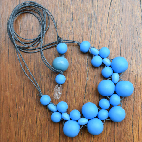 Blue Mini Bubble Ball Necklace