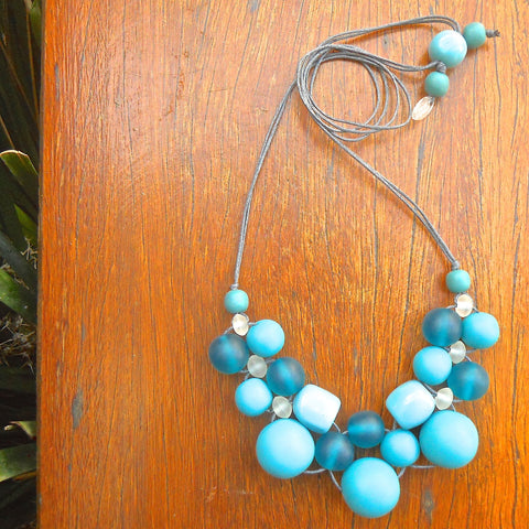 Teal Bubble Ball Necklace