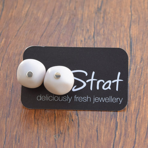 White nugget stud earrings