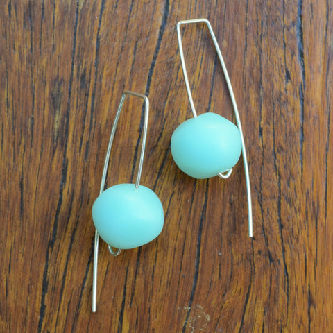 Mint Nugget Drop Resin Earrings