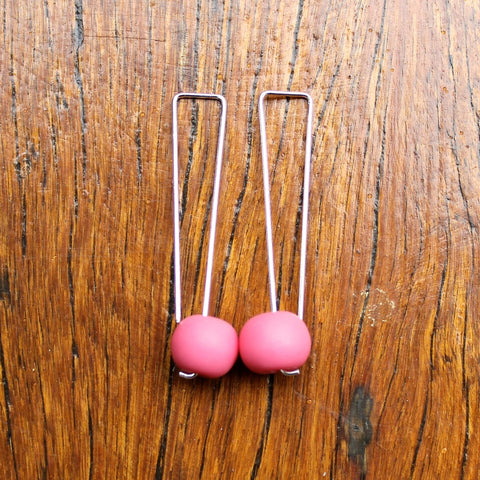 Pink Straight Drop Resin Ball Earrings