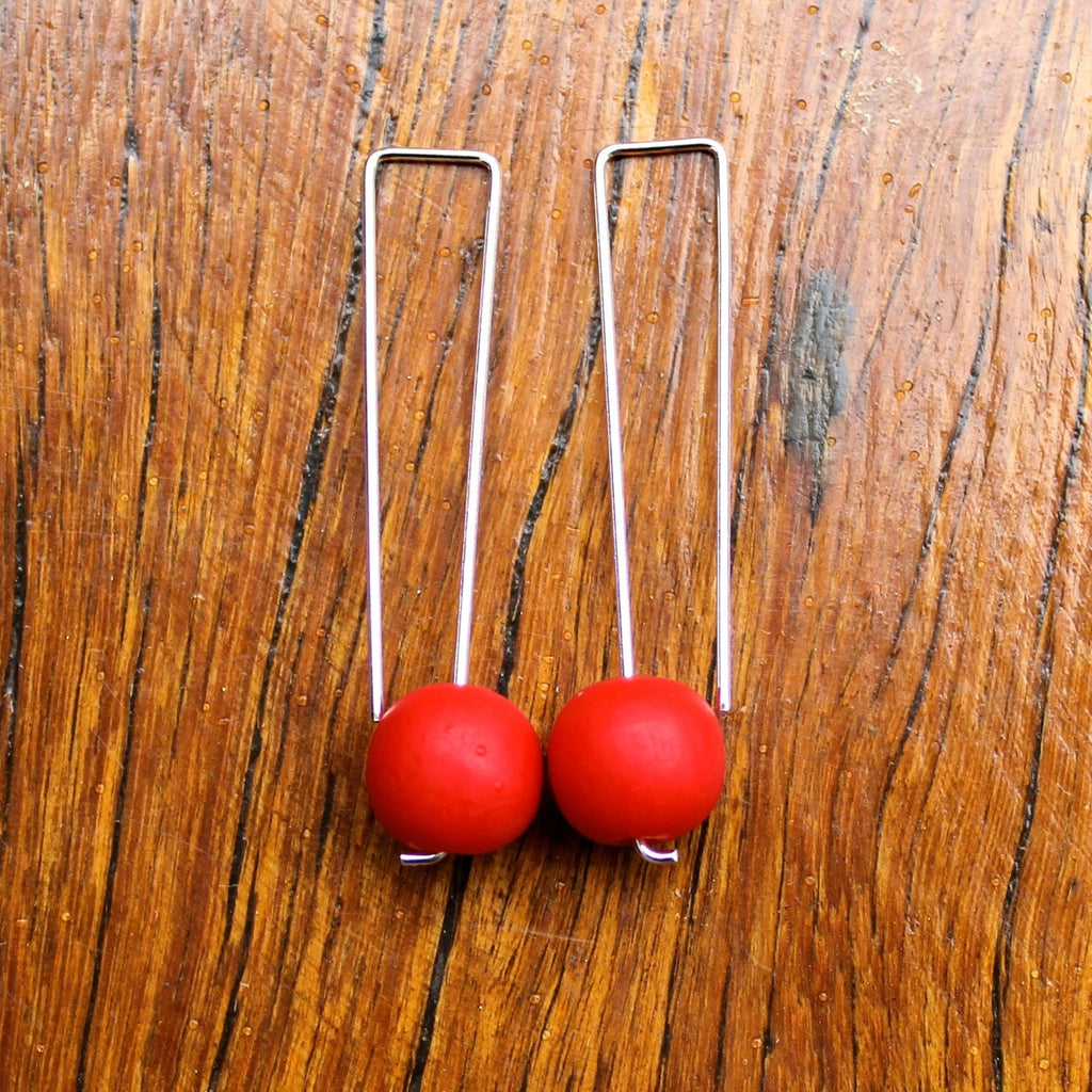 Red Straight Drop Resin Ball Earrings