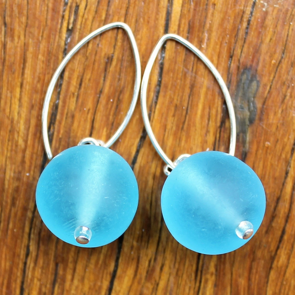 Blue (Translucent) Ball Drop Earrings