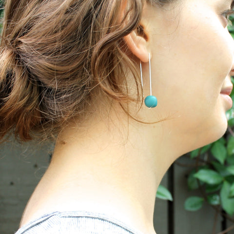 Teal Straight Drop Resin Ball Earrings