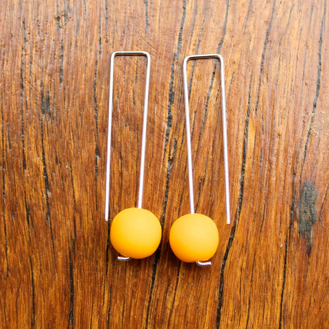 Yellow Straight Drop Resin Ball Earrings