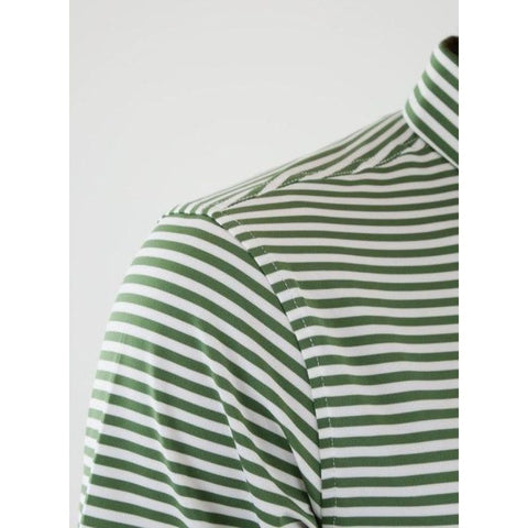 Straight Down Men's Bedford Stripe Polo shoulder view