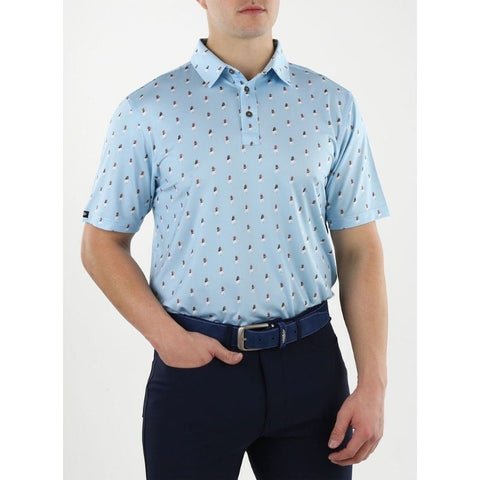Image of Straight Down Men's Hula Polo Front
