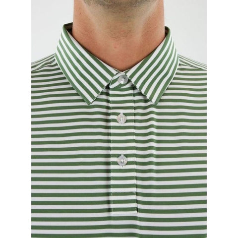 Straight Down Men's Bedford Stripe Polo detailed
