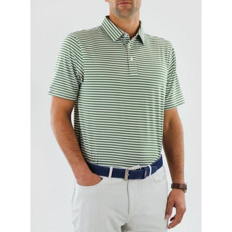 Straight Down Men's Bedford Stripe Polo Front