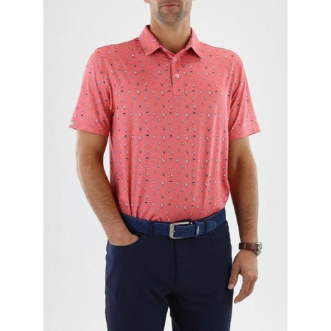 Straight Down Men's Mixer Polo pink front