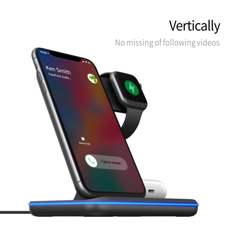 3in1 15W Qi Wireless Fast Charger Stand