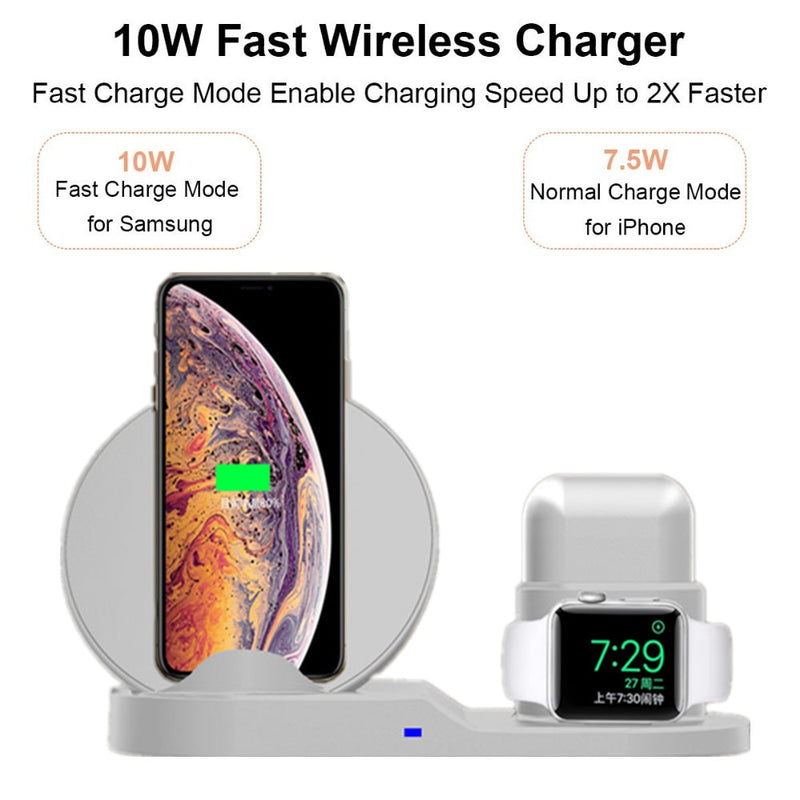 3in1 10W Wireless Charger Dock Station Fast Charging For iPhone XR XS Max 8 for Apple Watch 3 4 5 For AirPods For Samsung