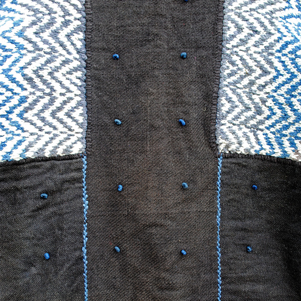 Indigo Overcoat with Chevron pattern
