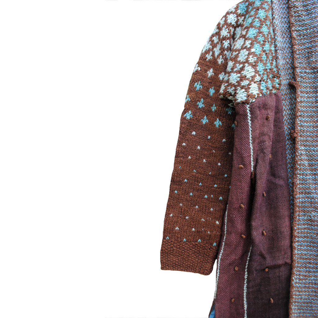 Catechu and Teal Overcoat with Diamond pattern