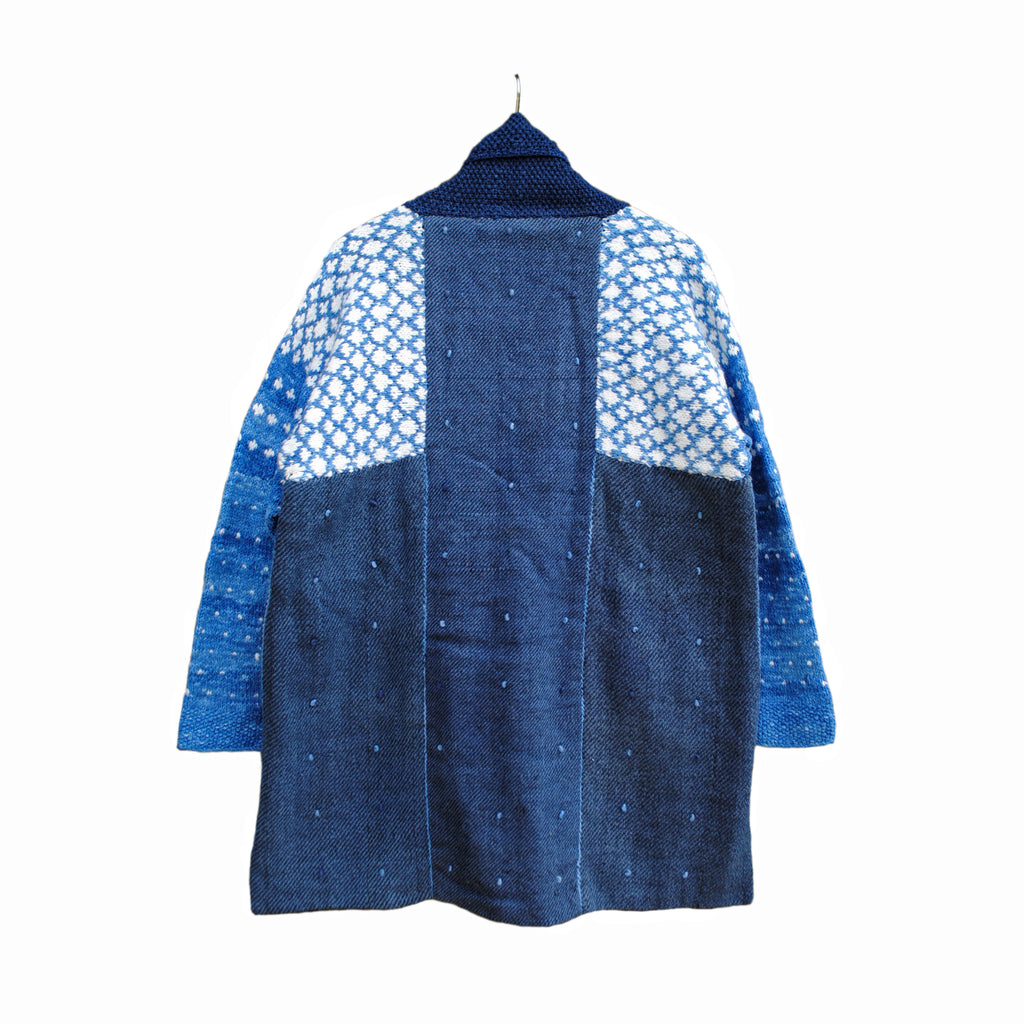 Indigo Twill Overcoat with Diamond design