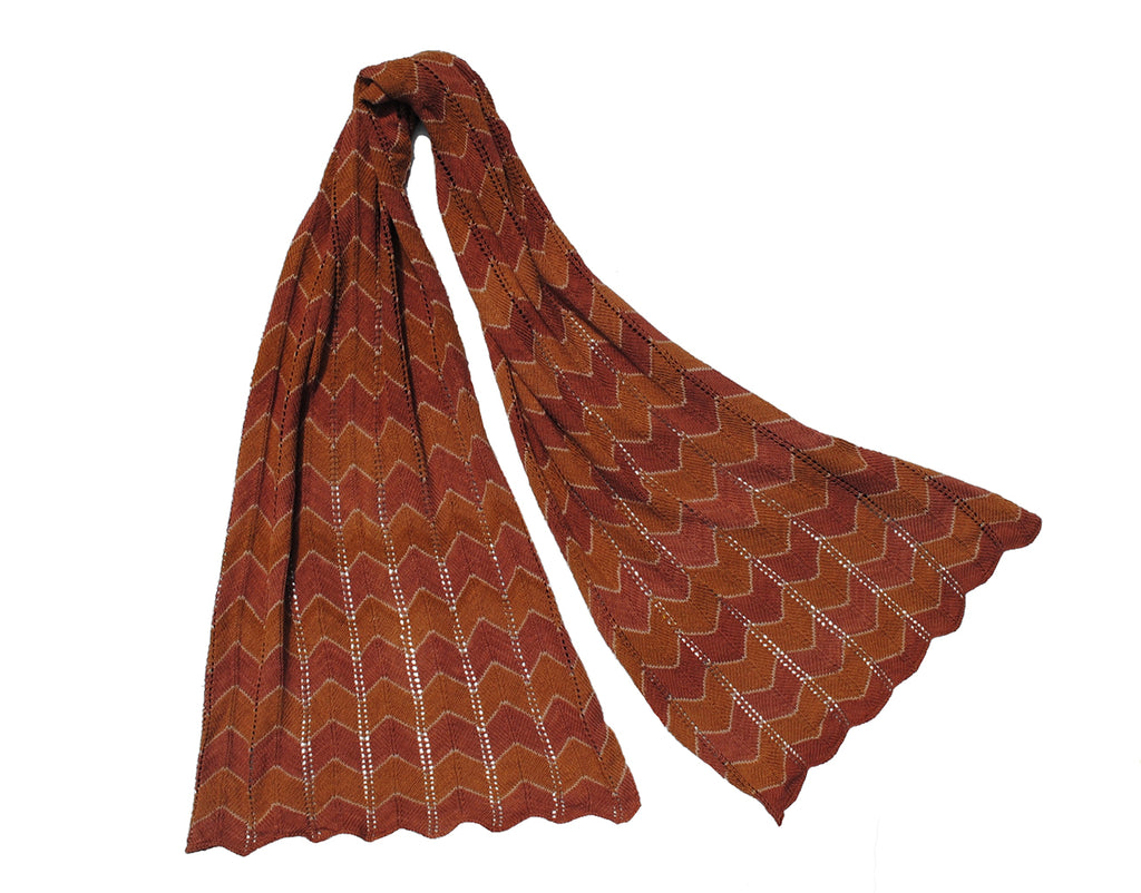 Chevron Scarf - Rust and brown