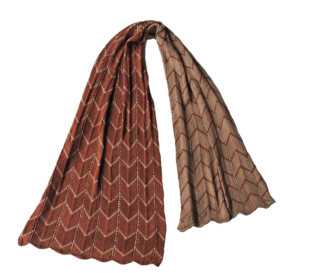 Chevron Scarf - Beige and Rust