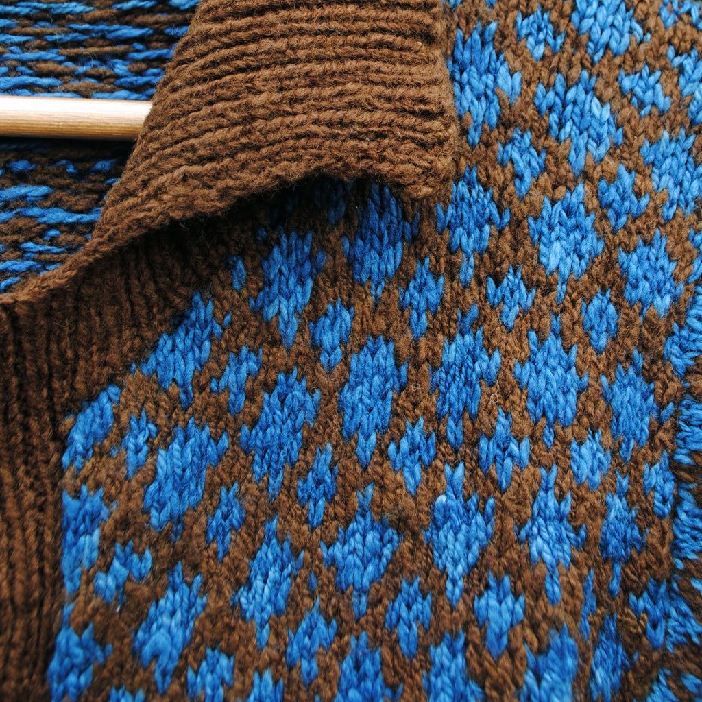 Indigo and Brown Fair Isle Cardigan