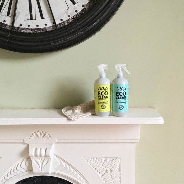 Lilly's Eco Clean Natural Cleaning Products on Fireplace